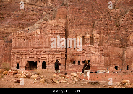 The Corinthian tomb and the Palace tomb which are part the Royal Tombs, Petra, Jordan. - Stock Photo