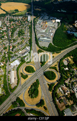 A43 and A40 highway junction, Ruhr-Park Bochum shopping centre, aerial view, RUHR.2010 Action Still-life on the - Stock Photo