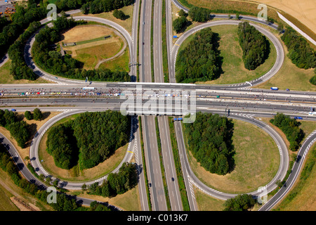 Aerial view, A40 and A45 highway junction, known as Sauerlandlinie, RUHR.2010 Action Still-life on the A 40, Dortmund, - Stock Photo