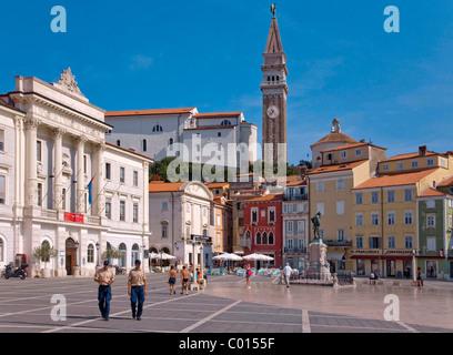 Town hall, Tartini Square, Piran, Slovenia, Europe - Stock Photo