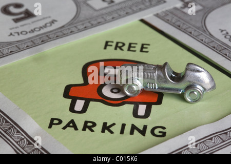 free parking on the monopoly board game - Stock Photo