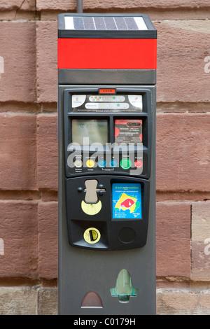 Modern solar powered parking meter in Strasbourg, Alsace, France, Europe - Stock Photo
