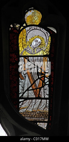 16th Century Stained glass window depicting an Angel, St Eata's Church, Atcham, Shropshire - Stock Photo