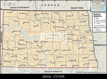 North Dakota State Political Map Stock Photo Royalty Free Image - Political map of south dakota