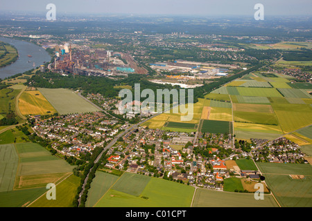Aerial view, bend of the Rhine river near Muendelheim and Serm, Duisburg, Ruhrgebiet area, North Rhine-Westphalia - Stock Photo