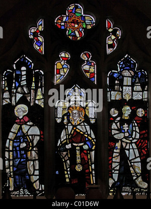 A 16th century stained glass window depicting a king, a monk and a saint, Battlefield Church, Shropshire - Stock Photo