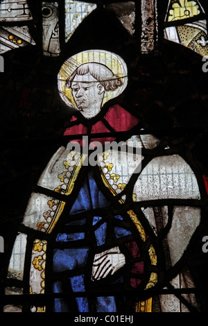 A 16th century stained glass window depicting a saint, Battlefield Church, Shropshire - Stock Photo