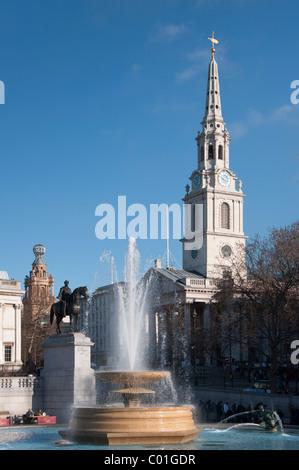 Saint Martin in the field from Trafalgar square, London, England - Stock Photo