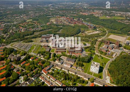 Aerial view, Zollverein Coal Mine Industrial Complex, design school, Saana building, World Cultural Heritage site, - Stock Photo