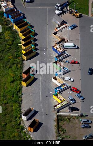Aerial view, Werthof landfill, Hamm, Ruhr area, North Rhine-Westphalia, Germany, Europe - Stock Photo