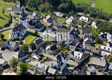 Aerial view, the oldest village of half-timbered houses in Germany, Eversberg village near Meschede, half-timbered - Stock Photo