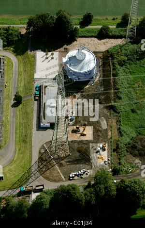 Aerial view, EmscherKunst art project, Silke Wagner, Glueckauf, Bergarbeiterproteste im Ruhrgebiet art project, - Stock Photo