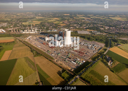 Aerial view, new construction of a power plant, building freeze, EON Datteln4 power plant, coal power station - Stock Photo