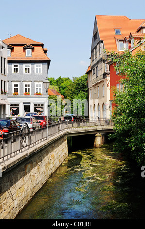 Street and the Gera river in Erfurt, Thuringia, Germany, Europe - Stock Photo