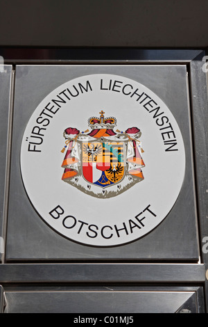 Sign 'Botschaft Fuerstentum Liechtenstein', German for 'embassy of the Principality of Liechtenstein', Berlin, Germany, - Stock Photo