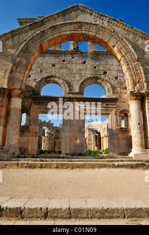 Byzantine ruin of the Church of Saint Simeon Stylites, Qal'at Sim'an, Qalaat Seman archeological site, Dead Cities, - Stock Photo