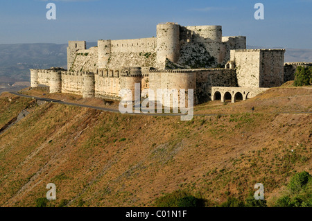 Crusader fortress Crac, Krak des Chevaliers, Qalaat al Husn, Hisn, Unesco World Heritage Site, Syria, Middle East, - Stock Photo