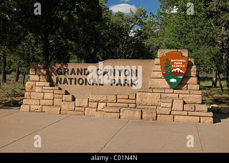 Entrance sign at the south rim of the Grand Canyon, Grand Canyon National Park, Arizona, American Southwest, USA - Stock Photo