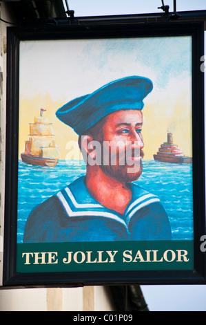 The Jolly Sailor pub sign, Farnham, Surrey, UK - Stock Photo