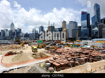 Construction site and skyline of Hong Kong, China, Asia - Stock Photo