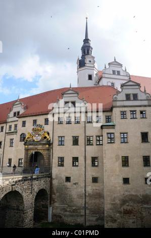 Schloss Hartenfels castle, Torgau, Landkreis Nordsachsen county, Saxony, Germany, Europe - Stock Photo