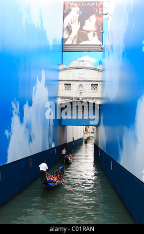 Bridge of Sighs, Ponte dei Sospiri with promotional posters, Venice, Italy, Europe - Stock Photo