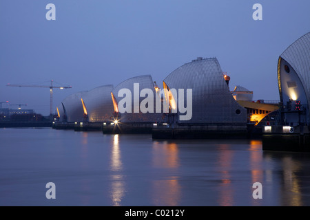 River Thames Flood Barrier, evening light, Woolwich, Greenwich, London, England, UK, United Kingdom, GB, Great Britain - Stock Photo