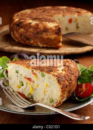Spinach tortilla - Stock Photo