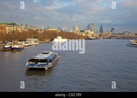 View looking east to St Paul's Cathedral from Waterloo Bridge, London, England, UK, United Kingdom, GB, Great Britain, - Stock Photo