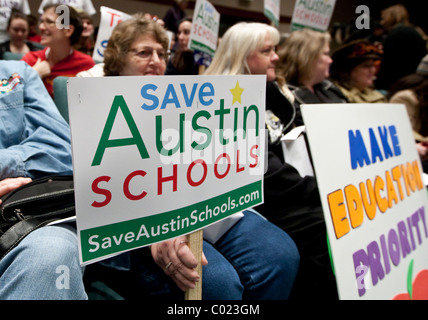 Parents of Texas public school students at a rally at the Capital to call attention to lawmakers' plans to cut school - Stock Photo