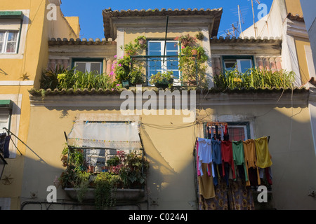 Colorful home, Bairro Alto, Lisbon, Portugal - Stock Photo