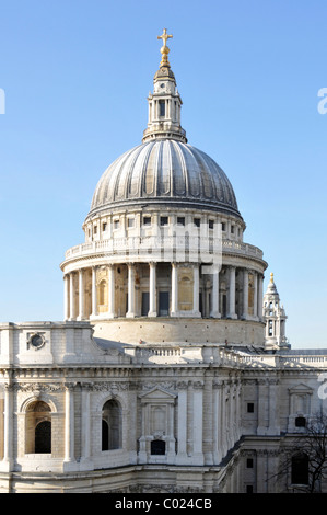 Ludgate Hill City of London landmark dome of historical Sir Christopher Wren iconic St Pauls cathedral church with - Stock Photo