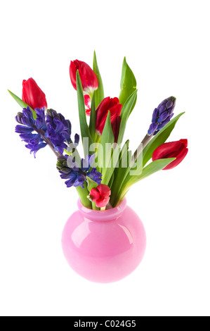 Colorful spring bouquet with tulips and Hyacinths in vase - Stock Photo