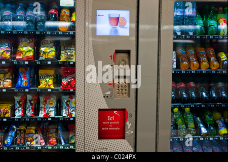 Paris, France, Detail, Front, Shopping, Junk Food and Soft Drink Vending Machine, inside, Metro - Stock Photo