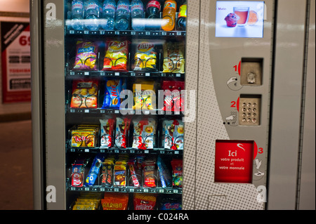 Paris, France, Shopping, Junk Food and Soft Drink Vending Machine, inside, Metro Station - Stock Photo