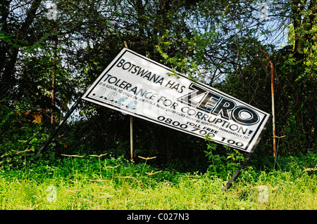Sign warning against corruption, Botswana has zero tolerance for corruption, Kasane, Botswana, Africa - Stock Photo