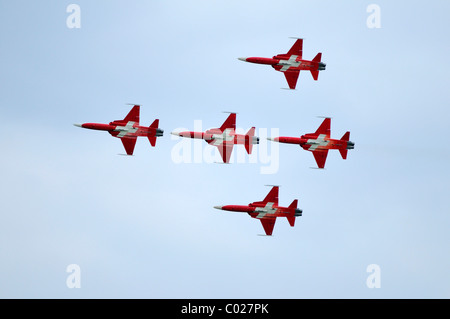 Patrouille Suisse flyingin formation, official jet aerobatic team of the Swiss Air Force, Emmen, Switzerland, Europe - Stock Photo