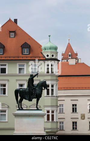 Equestrian statue of King Ludwig I on cathedral square, in the back beautiful facades, old town, Unesco World Heritage - Stock Photo