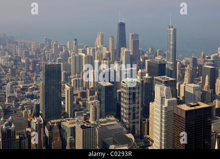 View of the John Hancock Center, Trump International Hotel and Tower and the 900 North Michigan skyscraper, Chicago, - Stock Photo