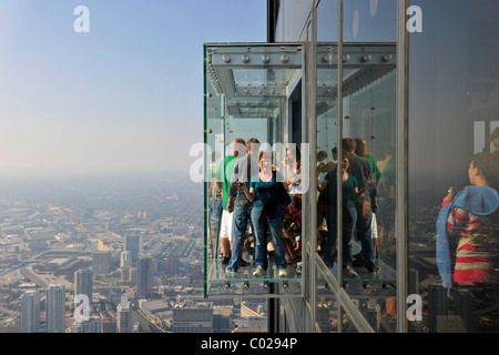 Visitors standing on the new 412-meter high Skydeck viewing platform, Willis Tower, formerly named Sears Tower and - Stock Photo
