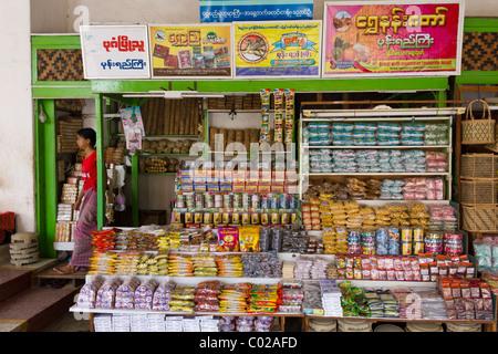 food shop for pilgrims outside Shwezigon Pagoda, Nyaung Oo, Bagan, Burma Myanmar - Stock Photo