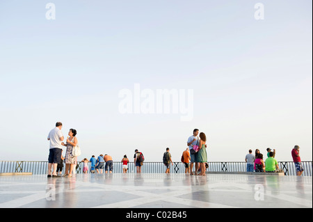 People at the Balcon de Europa, Nerja, Costa del Sol, Andalusia, Spain, Europe - Stock Photo