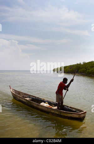 rowing boat on sea, Baru island, Colombia - Stock Photo