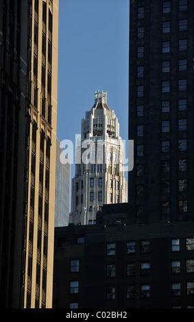 View through skyscrapers towards Tribune Tower, Chicago, Illinois, United States of America, USA - Stock Photo