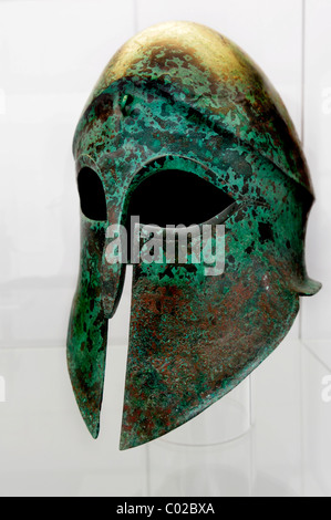 Corinthian helmet around 500 B.C.E., Antique collection, Koenigsplatz, Munich, Bavaria, Germany, Europe - Stock Photo