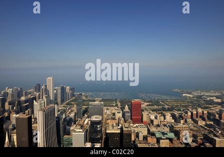 Looking east towards marina, Lake Michigan, Aon Center, CNA Center, skyscrapers, Chicago, Illinois, United States - Stock Photo