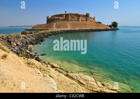 Historic castle of Qalaat Jabar overlooking Assad Lake, Euphrates, Syria, Middle East, West Asia - Stock Photo