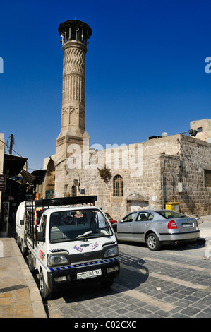 Historic minaret and mosque in the historic town of Aleppo, Unesco World Heritage Site, Syria, Middle East, West - Stock Photo