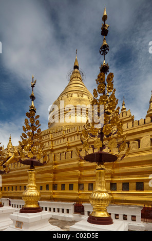 Shwezigon Pagoda, Nyaung Oo, Bagan, Burma Myanmar - Stock Photo