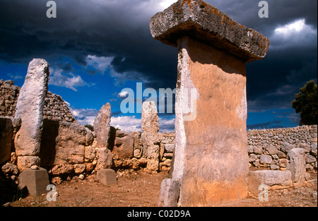 Taula in the Talayotic site of Trepuco Menorca, Balearic islands, Spain - Stock Photo